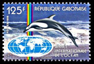 Gabon 929, MNH, International Year of the Ocean, Dolphin