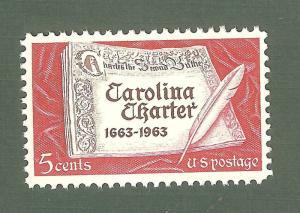1230 Carolina Charter US Single Mint/nh (Free Shipping)