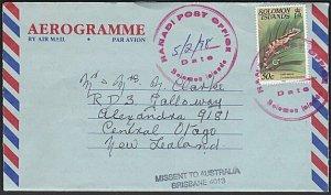 SOLOMON IS 1998 aerogramme RANADI POST OFFICE cds to NZ, MISSENT BRISBANE...K826
