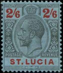 St Lucia SC# 88 KGV 2sh6d wmk 4 MH with mount