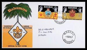 BAHAMAS SC#267-268 DIAMOND JUBILEE OF WORLD SCOUTING (1967) FDC