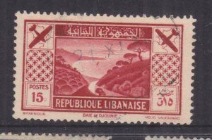LEBANON, 1936 Air, Jounieh Bay15p. Carmine, used.