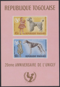 STAMP STATION PERTH Togo #C64a YTBF23 MNH S/S CV$6 20th Anniv UNICEF/Dogs/Childr
