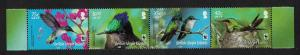 BVI WWF Hummingbird Birds Flowers strip of 4v SG#1278-1281