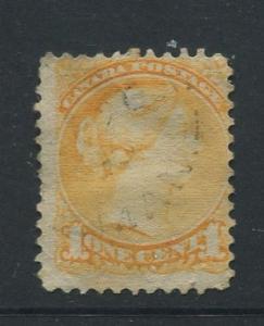 Canada -Scott 35 - Queen Victoria -1870 - Used - Single 1c Stamp