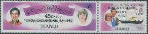 Tuvalu 1982 SG187-188 Royal Wedding Cyclone Relief surcharges set MLH