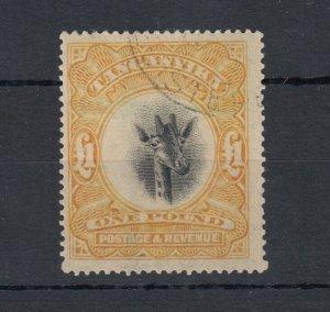 Tanganyika KGV 1922/25 £1 Orange Block Giraffe VFU JK78
