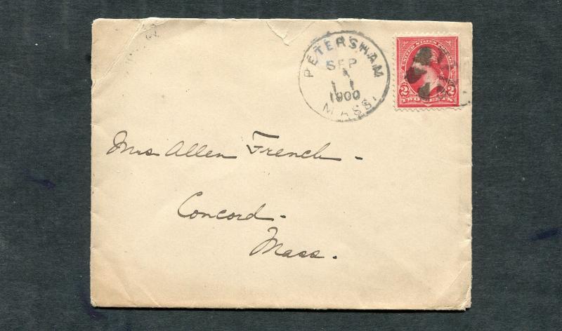 Postal History - Petersham MA 1900 Black Segmented Cork Cancel B0340