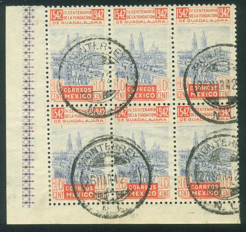 MEXICO 773, 10c Anniv Guadalajara Block of 6 Used. F-VF.  (27)