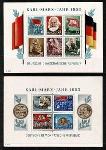 GERMANY DDR 1953 70th ANNIV. DEATH KARL MARX MINI SHEETS SGMSE111a UNUSED SUPERB