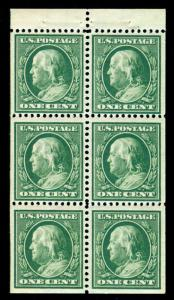 MOMEN: US STAMPS #331A POSITION I BOOKLET MINT OG NH