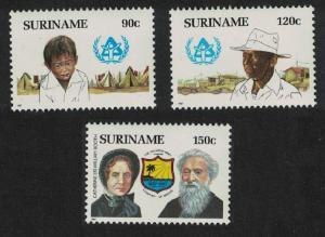Suriname International Year of Shelter for the Homeless 3v SG#1331-1333