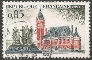 France Stamp - Scott #1012/A372 85c Slate Green, Slate & Red Brown Canc/LH 1961