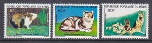 Benin 510-12 MNH 1981 Pets Guinea Pig, Cat & Dogs Full Set Very Fine