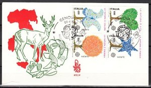 Italy, Scott cat. 1672 a-d. Tree Shaped issue. First day cover. ^