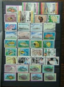 Tuvalu Range of Commemorative issues Ships Trains Fish  + others Used