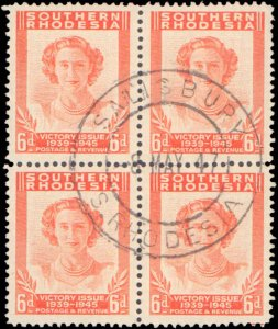 Southern Rhodesia #67-70, Complete Set(4), Blocks of 4, 1947, Royality, Milit...