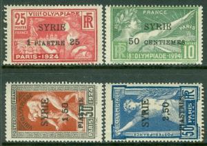 SYRIA : 1924. Yvert #122-25 Olympics. Tiny tone spot on gum of 1 stamp, VF, MOGH