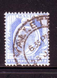 Malta Sc  36 1911 2 1/2d Edward VII stamp used