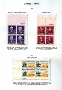 SCOTT 1170-1171-1176  PAGE OF PLATE BLOCKS W/DESCRIP GREAT FOR BEGINNERS  OG/MNH