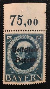 #153 MNHOG F - German States: Bayern/Bavaria w/plate # ?