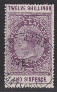 NEW ZEALAND 1880 LONG TYPE STAMP DUTY 12/6d used............................J239