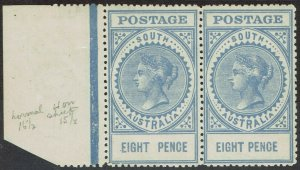 SOUTH AUSTRALIA 1906 QV THICK POSTAGE 8D VARIETY VALUE CLOSER PAIR WMK CROWN/A