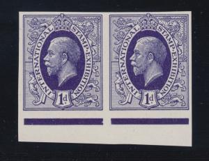 Great Britain 1912 1p indigo KGV Essay horiz pair, 1912 Int'l Stamp Expo, London