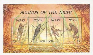 Nevis - 1989 Nocturnal Insects & Frog - 4 Stamp Souvenir Sheet #585a