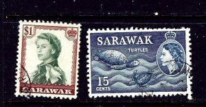 Sarawak 204 and 209 Used 1955-57 issues