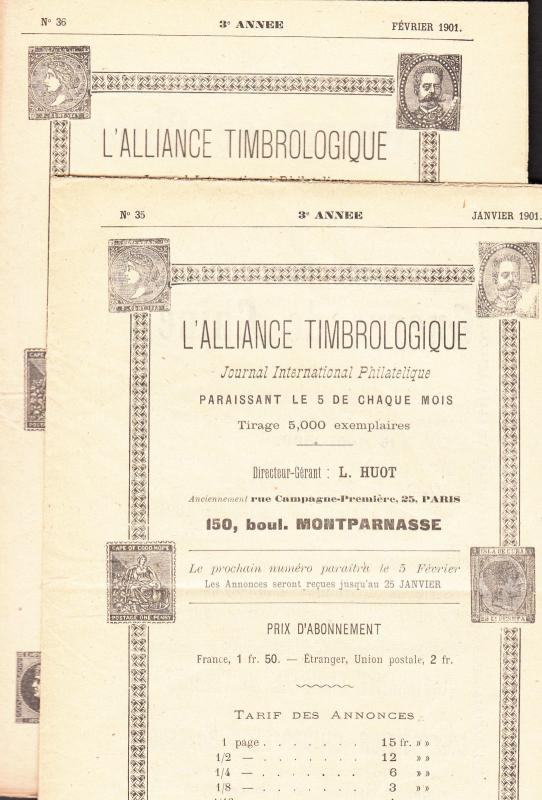 Alliance Timbrologique - 1898 #1/11, 1899 #12/22, 1900 23/34, 1901 35/36