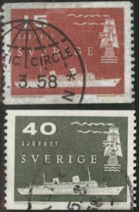 SWEDEN Scott 521-522 used 1958 coils Arctic Circle cancel