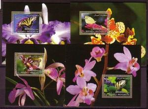 Somali Rep. 2006 issue. Butterflies on 4 s/sheets with Orchids in design.