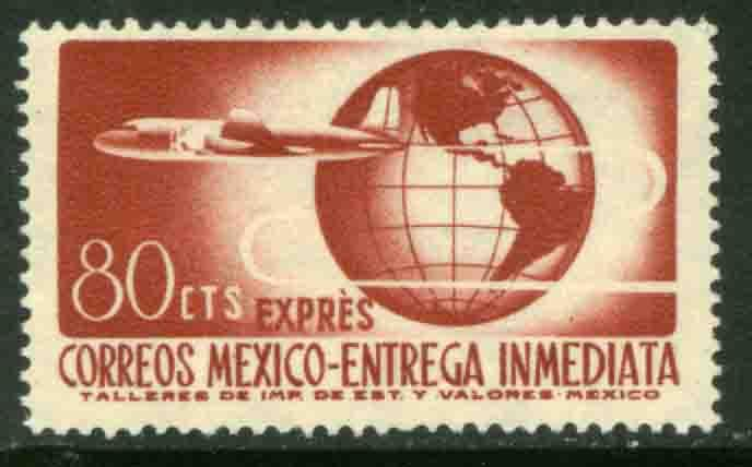 MEXICO E17 80cents 1950 Definitive 2nd Printing wmk 300 MNH