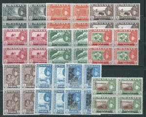 Malaya Pahang 72//82 part set NO 80 Blocks of 4 MNH