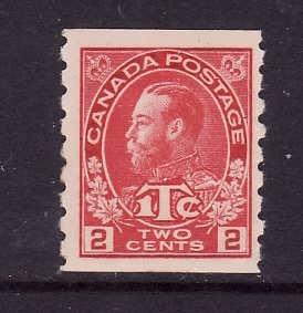 Canada-Sc#MR6-Unused 2c + 1c carmine war tax coil-KGV-og-hinged-1916-Cdn745 -