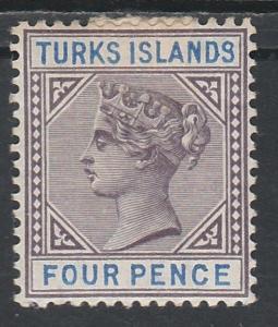 TURKS ISLANDS 1893 QV 4D