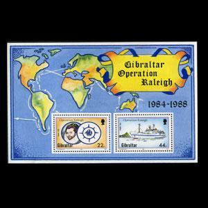 GIBRALTAR 1988 - Scott# 539 S/S Raleigh Voyage NH