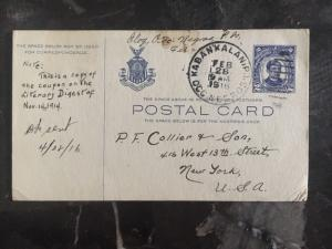 1916 Kabankalan US Occupied Philippines PostCard Cover to New York USA