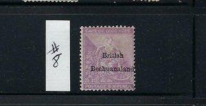 BECHUANALAND PROTECTORATE SCOTT #8 1885-87 CAPE OVERPRINT- 6D (VIOLET)- USED