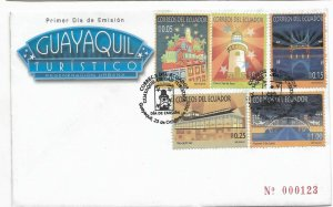 ECUADOR 2007 GUAYAQUIL CITY TOURISM FAMOUS PLACES 5 VALUES ON FIRST DAY COVER