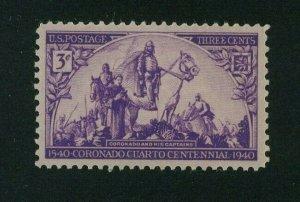 US 1940 3c bright violet Coronado Expedition, Scott 898 MH,  Value = 35c