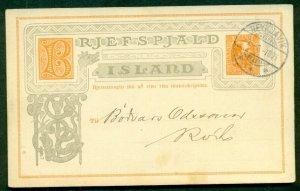 ICELAND Single Card #18 3aur Chr. IX, local use tied Reykjavik 1905, VF