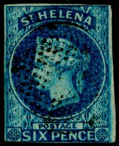 ST. HELENA SG1, 6d blue, FINE USED. Cat £180.