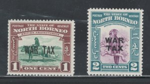 North Borneo 1941 War Tax Scott # MR1 - MR2 MH