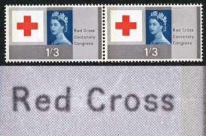 SG642p 1/3 Red Cross U/M Pair with Line Through Red Cross Flaw on RH Stamp