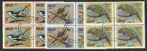 NIUE 1971 Birds set in blocks of 4 fine used...............................57585