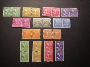PREXIE COIL PAIRS COMPLETE, Scott 839 - 851, MNH, Nice Group