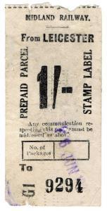 (I.B) Midland Railway : Parcel Stamp 1/- (Leicester)