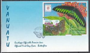 Vanuatu, Scott cat. 726a. Butterfly s/sheet on a First day cover. ^